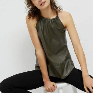 Anthropologie Safya Faux Leather Halter Tank NWT L